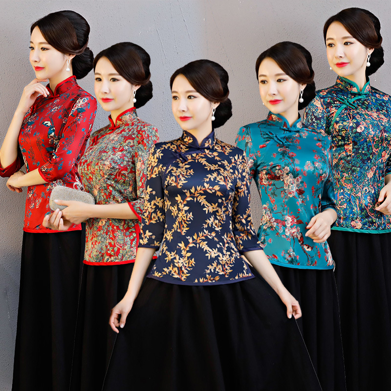 New Arrival Chinese Tradition Women s Blouse Silk Shirt Tops Summer Printing Clothing Flower Plus Size