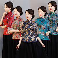 New Arrival Chinese Tradition Women's Blouse Silk Shirt Tops Summer Printing Clothing Flower Plus Size M L XL XXL 3XL 4XL 5XL