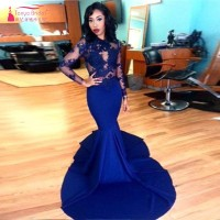 Long Sleeves Prom Dresses GorgeousTop Lace Floor Length Stretch Satin Mermaid Royal Blue African Evening Dress
