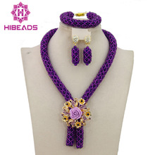 2016 Fashionable African Beads Jewelry Set Purple Costume Nigerian Wedding African Bridal Jewelry Set Free Shipping