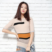The Women S New Five Point Short Sleeve Elegant Splicing Fashionable Woolen Sweater Knit Cashmere Sweater