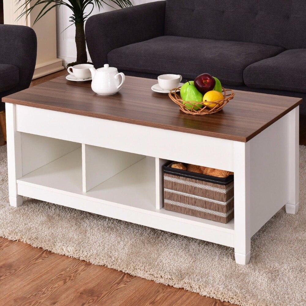 купить Giantex Lift Top Coffee Table w/ Hidden Compartment and Storage Shelves Modern Furniture Living Room Furniture HW55643WH по цене 9414.25 рублей