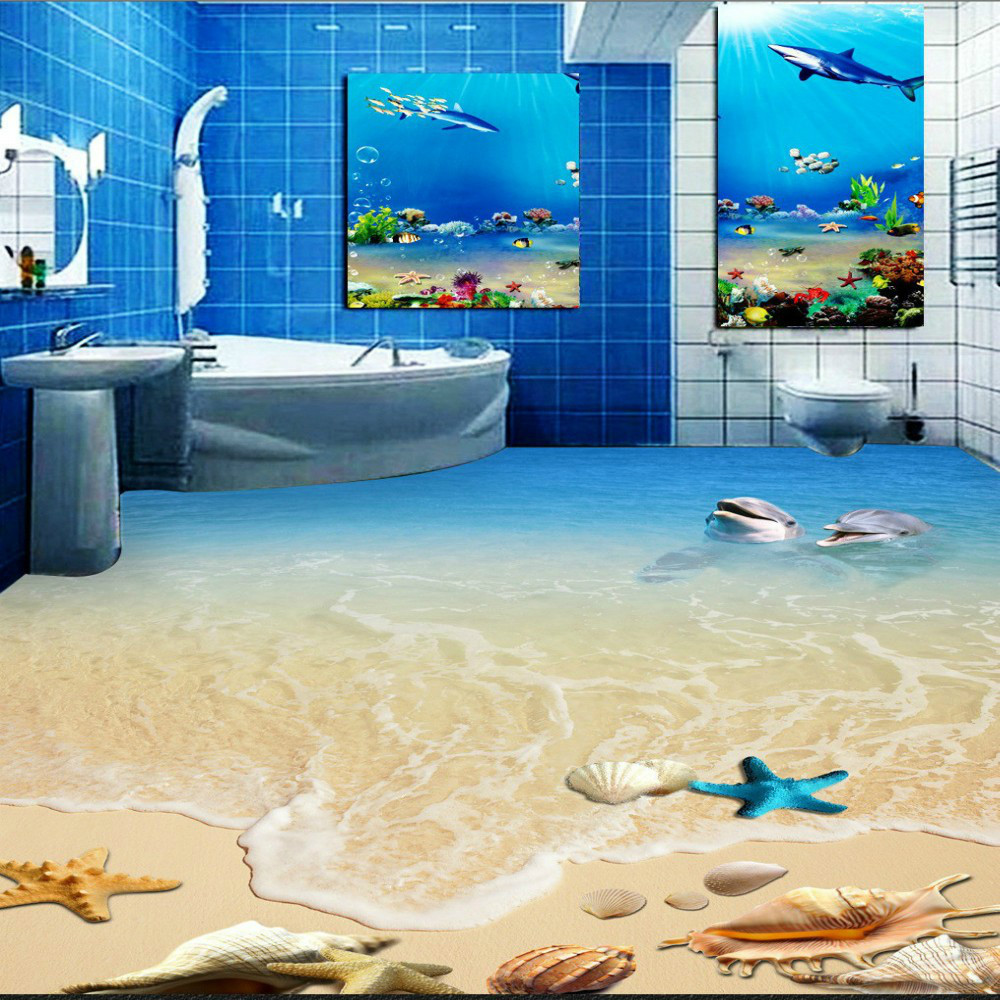 Free Shipping HD Dolphin Shell Toilet Bedroom 3D Floor wallpaper bathroom living room floor tiles toilet time floor golf game set