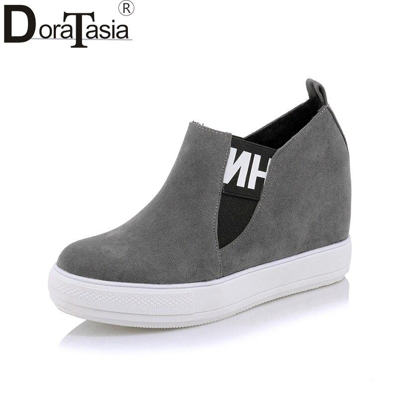 DoraTasia 2018 New Spring Autumn Plus Size 32-45 Flat Slip-On Loafers Shoes Woman Platform Height Increasing Women Shoes мужские ботинки spring autumn hightop size38 45 2
