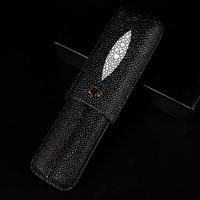 COHIBA Gadgets New Black Cigar Case 2 Tubes Portable Travel Cigars Humidor with Gift Box