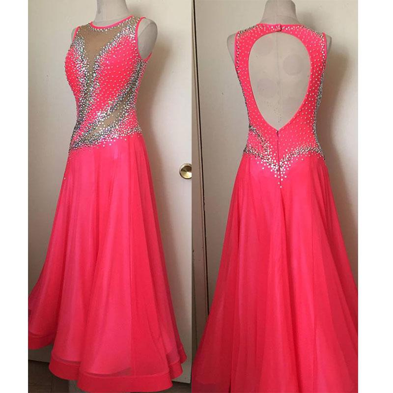 ballroom dance competition dress Rose red sleeveless backless ballroom dance dress tango waltz custom-made handmade dance dress