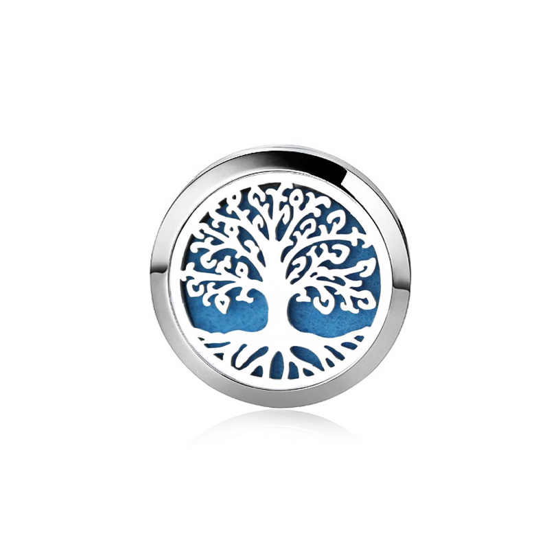 Silver Tree of Life Stainless Steel Aroma Brooch Badge Perfume Box Aromatherapy Essential Oil Diffuser Locket Brooch Jewelry