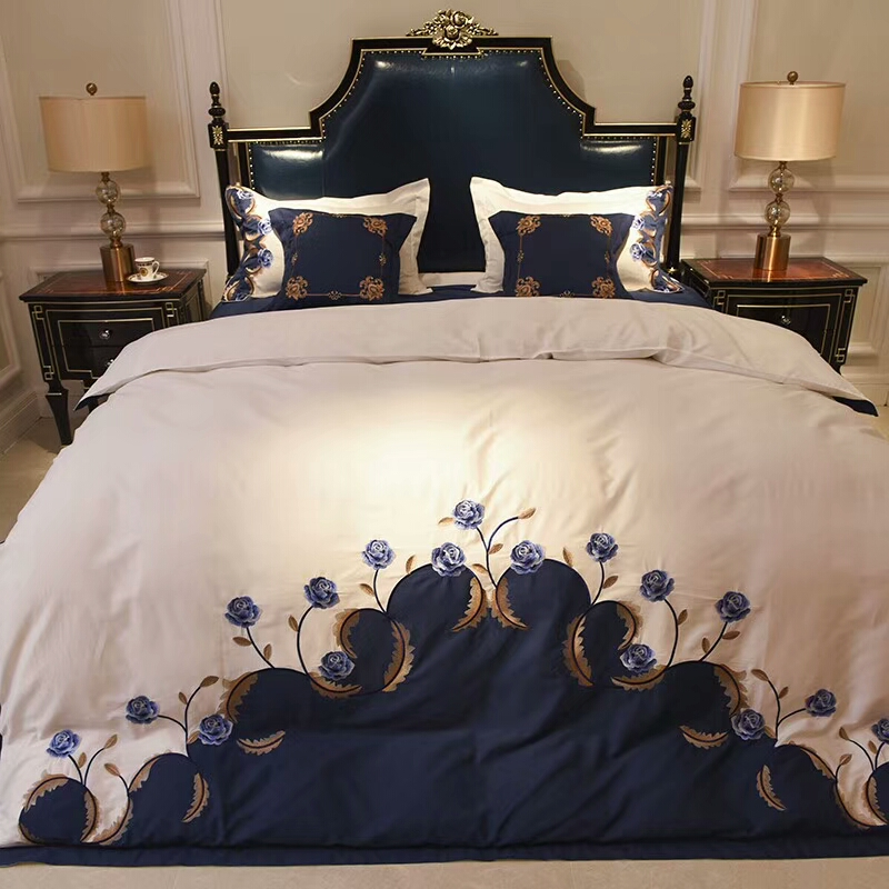 Blue White Luxury Egyptian Cotton Embroidery Chinese Bedding set Queen King size Silky Soft Duvet cover Bedsheet set Pillowcase