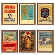 Vintage USA WW2 cartel de Propaganda de reclutamiento Navy Air Corps Cruz Roja pinturas clásicas en lienzo pegatinas de pared decoración del hogar regalo
