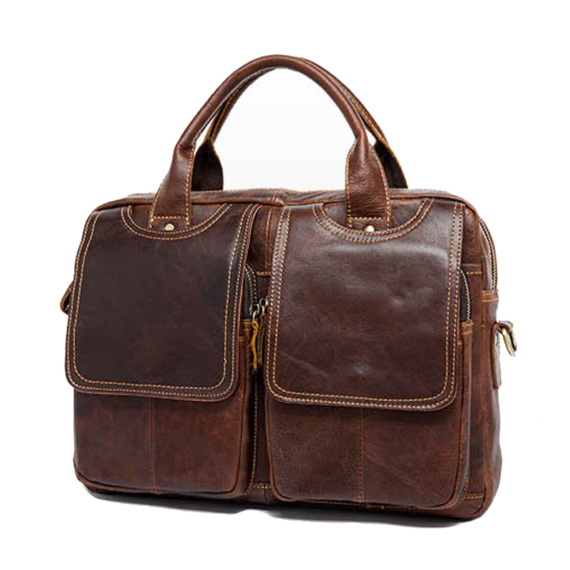 Genuine Leather Business briefcase handbags Crazy horse skin Vintage handbag men Business laptop bag High capacity Crossbody bag neweekend 1005 vintage genuine leather crazy horse large 4 pockets camera crossbody briefcase handbag laptop ipad bag for man