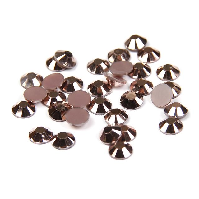 Pedras não Hotfix Flatback Rodada Strass Resina Cristal 2-6mm Cor De Cobre 14 Facetas Nail Art Decoração DIY usar Cola