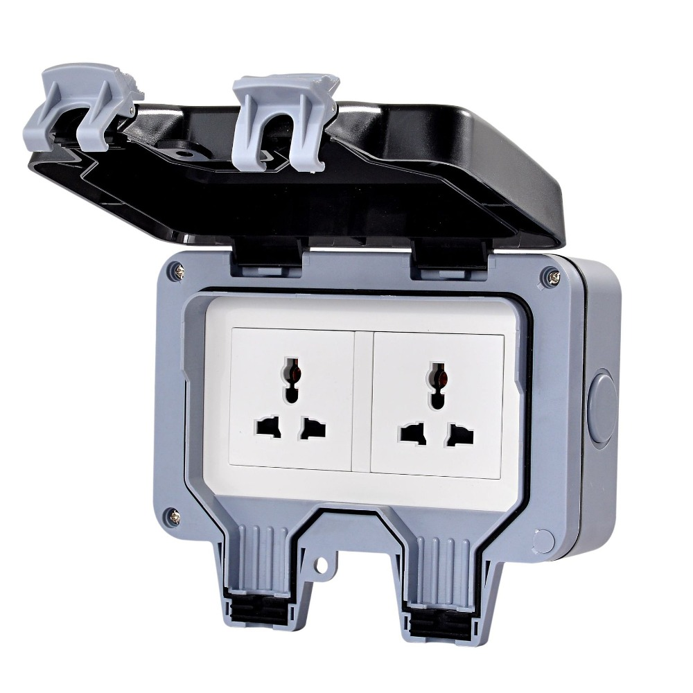 Waterproof wall switch socket two multi function three hole double UK EU AU US socket outdoor bathroom in Electrical Sockets from Home Improvement