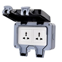 цена на Waterproof wall switch socket two multi-function three hole double UK/EU/AU/US socket outdoor bathroom.