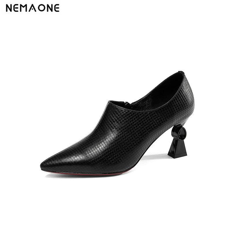 NEMAONE Design Genuine Leather Women Pumps poined Toes Buckle Zipper Handmade Vintage Ladies High Heel Shoes