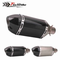 Motorcycle modification 51mm real carbon fiber Muffler Exhaust pipe Short Double mouthe Large Hexagon