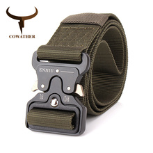 COWATHER nylon belt luxury men belts military outdoor tactical male strap jeans waistband new belt for men fashion metal buckle