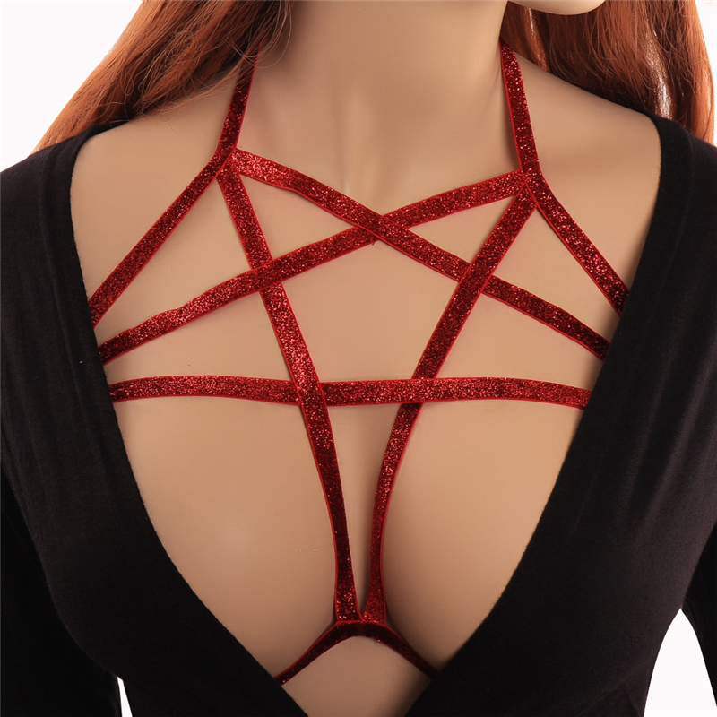 Buy Red Body Harness Lingerie Pentagram Elastic Strappy Tops Cage Hollow bra Bondage Fetish Exotic Party Club Rave Wear Women