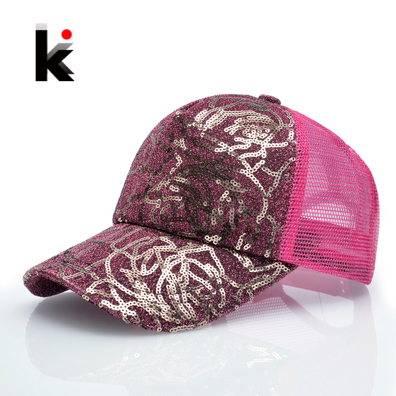 Womens Sequins Flashes 5 Panel Trucker Cap Hip Hop Sun Breathable Mesh Hat Summer Baseball Hats For Women Gorras russia usa spring summer youth girl sequins leisure sunshade hat mesh campus hat sun hat female sun dance hip hop baseball