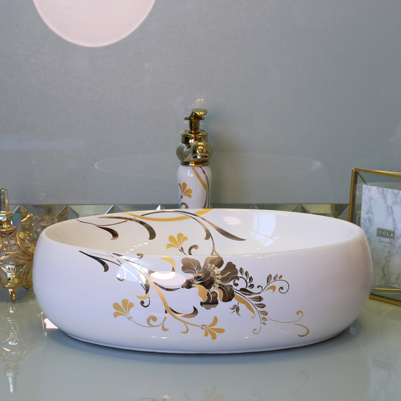Porcelain bathroom vanity bathroom sink bowl countertop Oval Ceramic wash basin bathroom sink