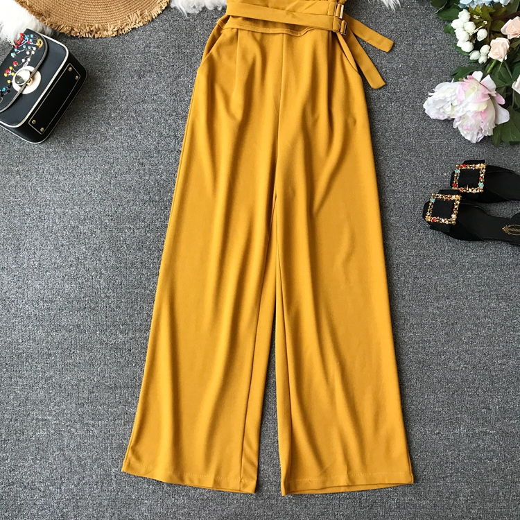 ALPHALMODA 2019 Spring Ladies Sleeveless Solid Jumpsuits V-neck High Waist Sashes Women Casual Wide Leg Rompers 56