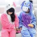 Invierno caliente de manga larga pijamas de dibujos animados los niños cat y burro cosplay animal onesie franela de dormir pijamas niños niñas