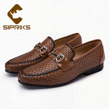 874fc4e893d6c3 Sipriks Mens Genuine Leather Braided Shoes Fashion Men Formal Woven Loafers  Black Leather Moccasin Boss Business Work Flats 2018