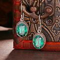925 Sterling silver retro luxury green Crystal Earrings women jewelry round Bohemian dinner party temperament girlfriend gift