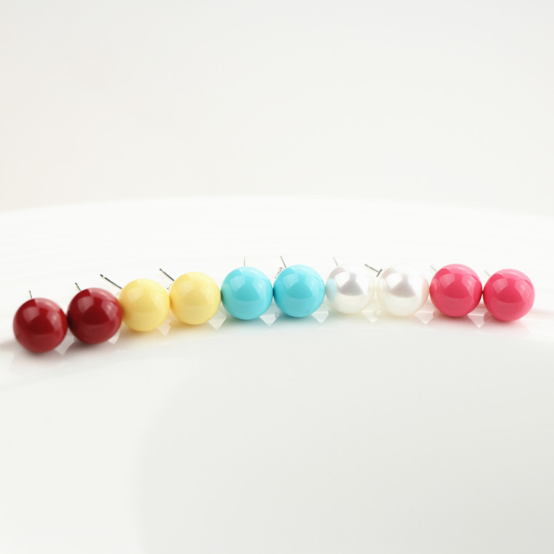 925 Sterling Silver with Shell Bead Stud Earrings, 5 Colors (Blue, yellow, white, maroon, rose), SS0004