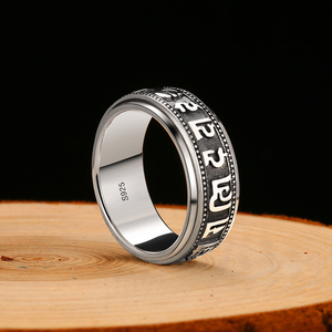 Image 4 - ZABRA Punk Jewelry For Men 925 Sterling Silver Spinner Ring Vintage Six Words Mantra Mens Signet Rings