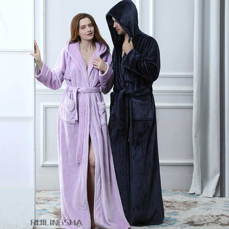 be1acae727 ... Lovers Plus Size Hooded extra Long Flannel Warm Bathrobe Men Women  Thickening Winter Kimono Bath Robe ...