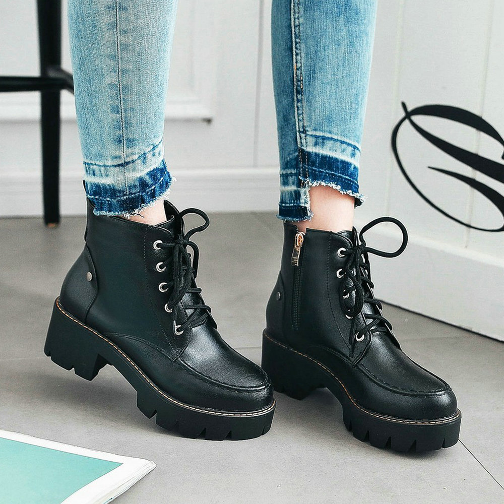 Women Platform Boots Pu Leather Thick Heel Ankle Boots Zipper Lace Up Round Toe Spring Autumn Fashion Ladies Shoes Plus Size