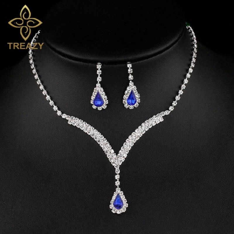 Radient Treazy Königsblau Kristall Brautschmuck Sets V-förmige Teardrop Halskette Ohrringe Hochzeit Schmuck-sets Für Frauen Ausgezeichnete QualitäT In