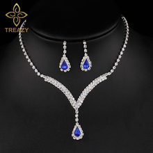 TREAZY Royal Blue Pha Lê Bridal Jewelry Sets V Shaped Teardrop Choker Necklace Earrings Cưới Trang Sức Sets đối với Phụ N(China)