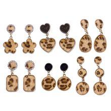 Women Leopard Print Geometric Round Square Drop Earrings Bamboo Maxi Jewelry