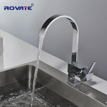 ROVATE Kitchen Faucet Single Handle Square Brass Chrome Swivel 360 Degree Water Mixer Sink Taps