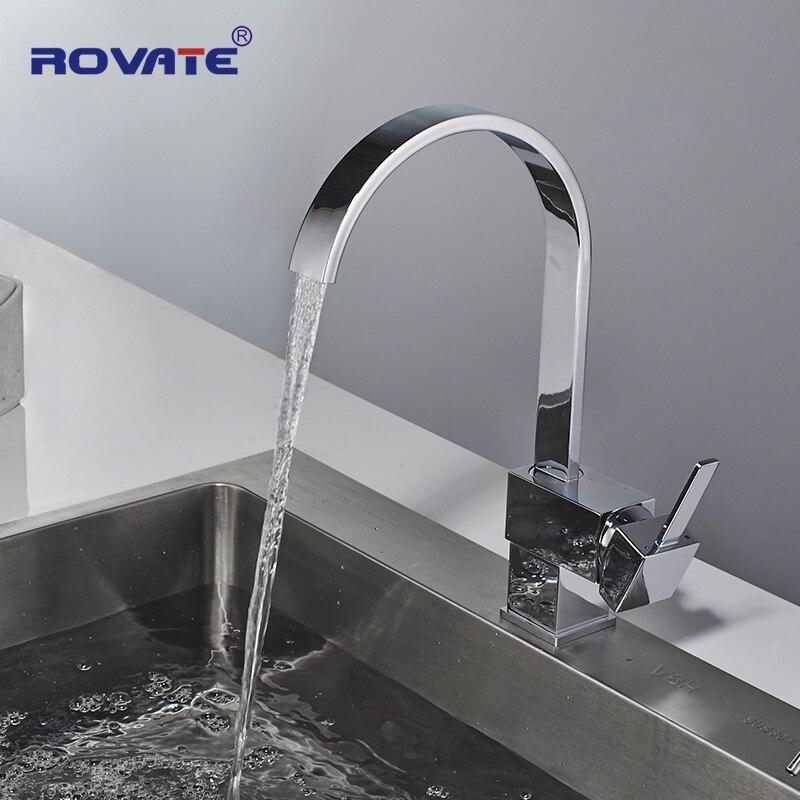 ROVATE robinet de cuisine poignée unique carré en laiton chromé pivotant 360 degrés mélangeur d'eau robinets d'évier