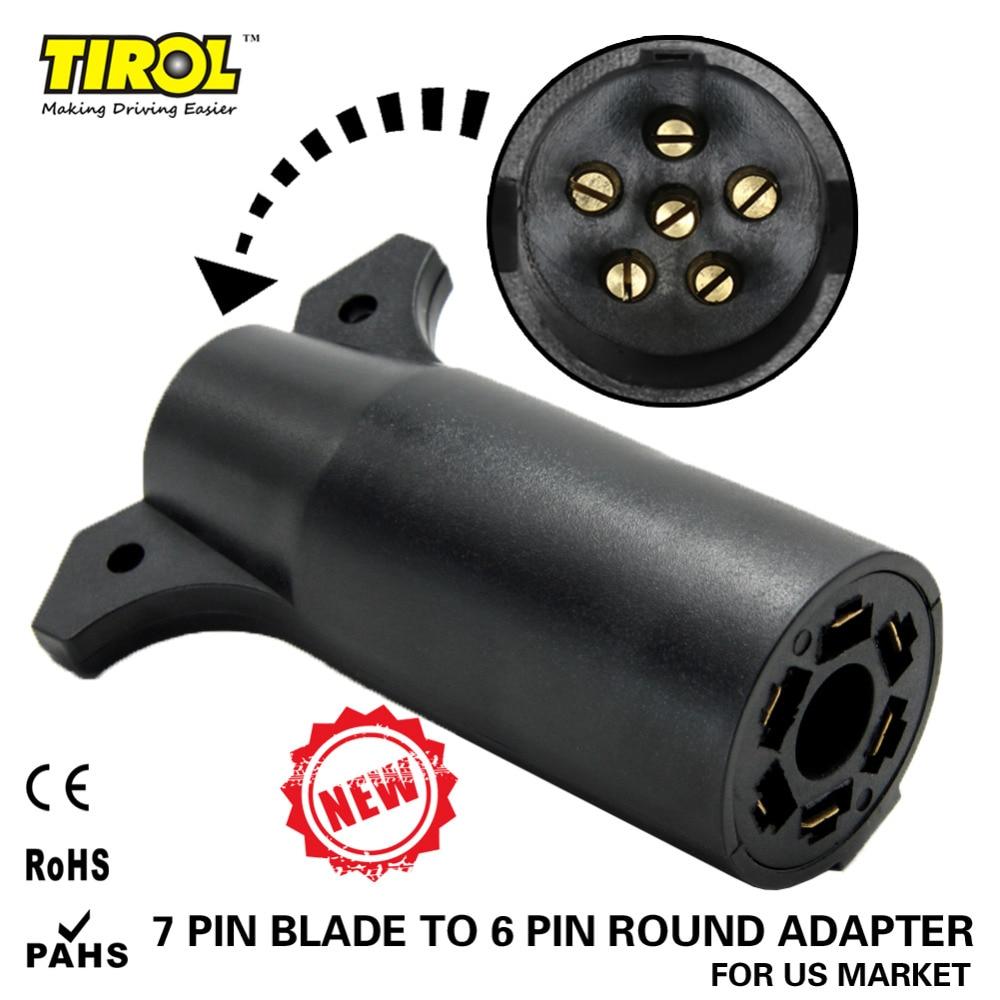 Tirol 7 Way Pin Rv Blade To 6 Way Round Trailer Wire Adapter Trailer Light Plug Connector 12v