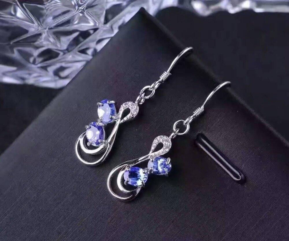 Takı ve Aksesuarları'ten Küpeler'de Doğal mavi tanzanit damla küpe s925 gümüş Doğal taş küpe kadınlar için moda Zarif güzel damla küpe parti'da  Grup 1