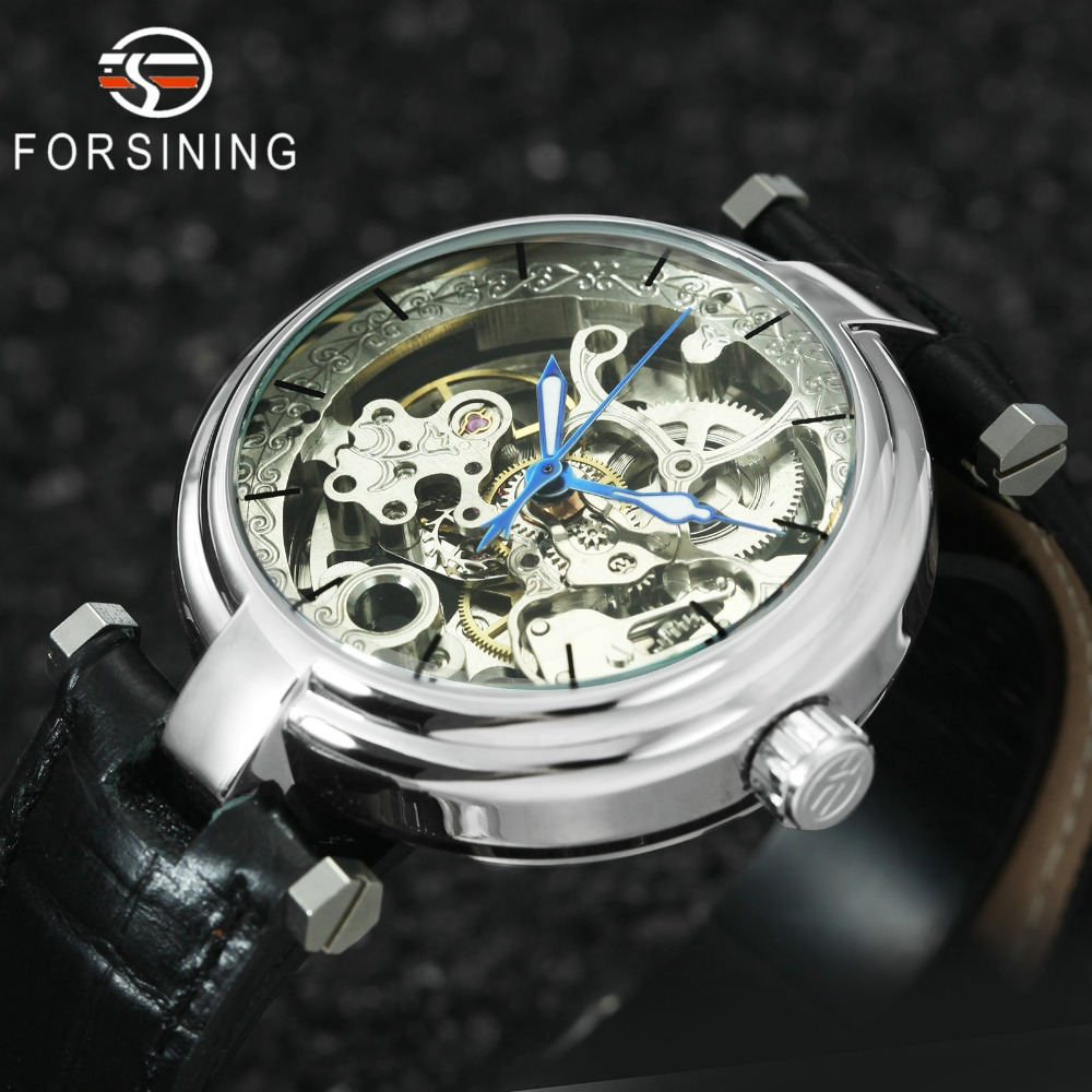 2019 FORSINING Royal Automatic Mechanical Women Watches Leather Strap Silver Skeleton Dial Fashion Ladies Watch Top Brand Luxury