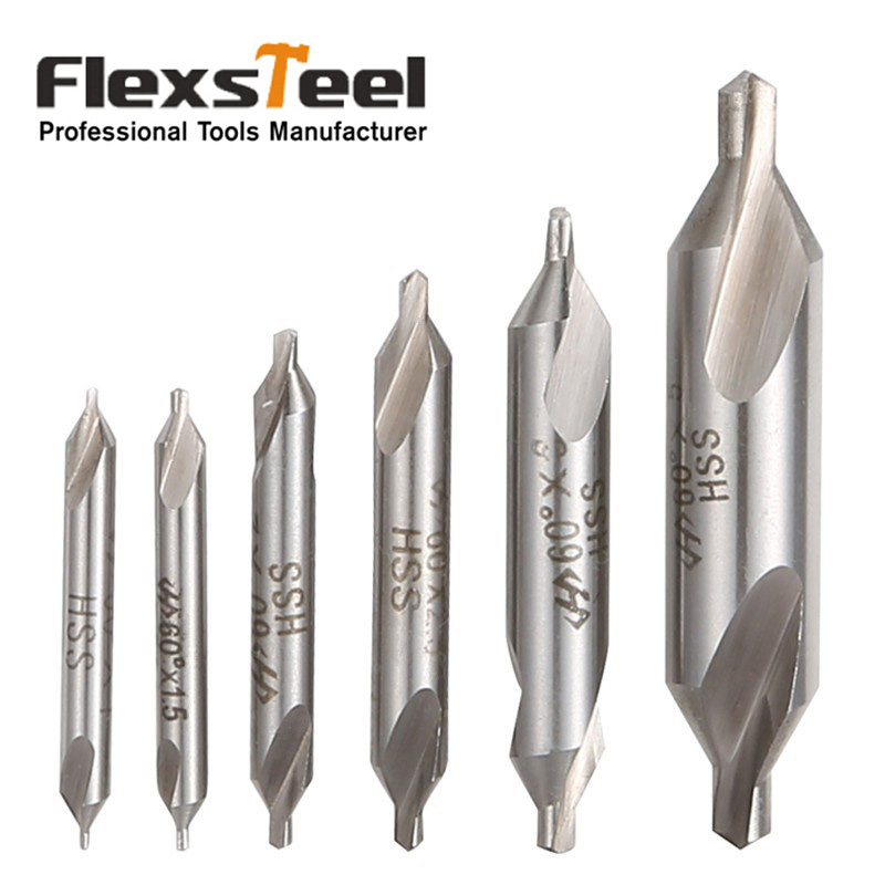 6pcs/set Electrical HSS Combination Center Drills Countersinks Bit Set Lathe Mill 60 Degree Angle 5/3/2.5/2/1.5/1mm
