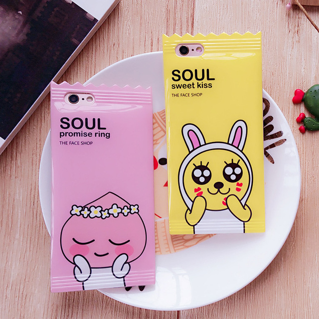 Korea lovely Cartoon Rabbit Case for Iphone 6 6s 6plus 7 7plus Cute Animal Candy Tpu Silicone Phone Case Back Cover Lanyard