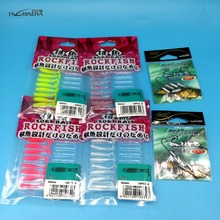 TSURINOYA NEW LURES 50pcs/LOT  AJING T-tail Soft Lure 40PCS lure+10PCS hooks Rockfish Ocean Rock Bait fishing tackle