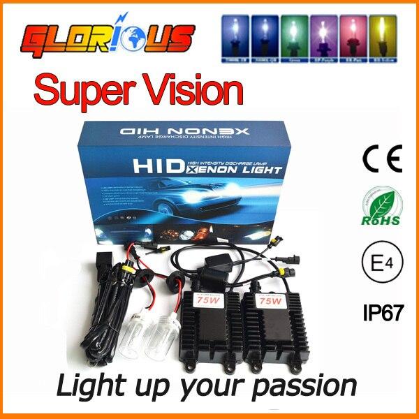 75w hid xenon kit 75w bulb 2pcs ballast H9 H1 H3 H4 H7 880 881 HB3 HB4 H8 H11 H13  Ballast HID Xenon Kits,xenon 75w