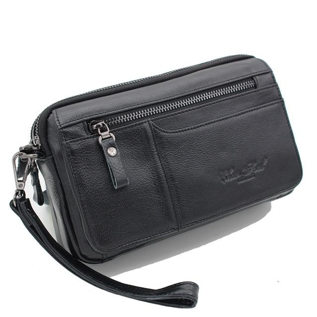 a941c1ea304ed 100% echtem Leder Rindsleder Männer Kupplung Tasche Männlichen Handgelenk  Handtasche Doppel Reißverschlüsse Geldbörse Brieftasche Handy