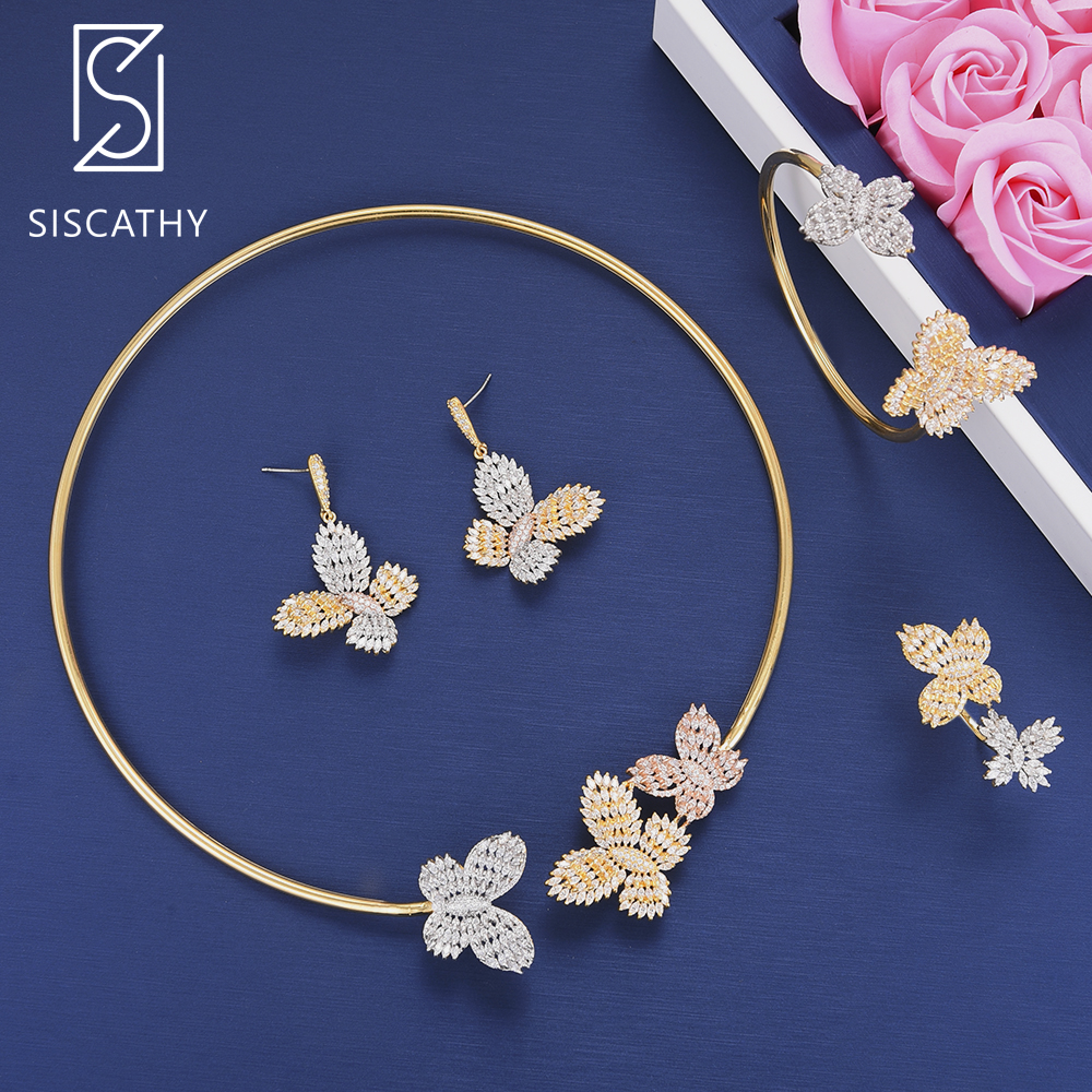 SISCATHY Fashion Butterfly Cubic Zirconia Wedding Necklace Dangle Earrings Resizable Bracelet Ring Jewelry Set boucle d'oreille retro rhinestone rattan butterfly bracelet with ring