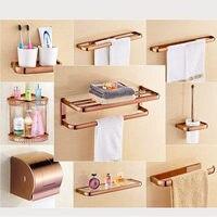 Rose Gold Brushed Thicker Bathroom accessories Bath Hardware Towel Shelf Towel Bar Paper Holder Cloth Hook