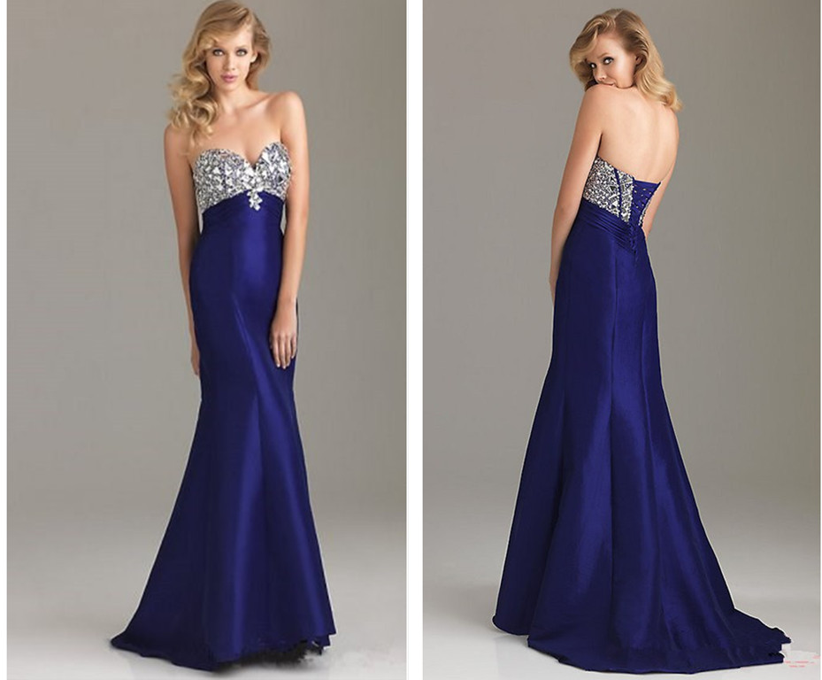 custom sweetheart free shipping crystal sexy robe de soiree vestido de festa renda 2018 blue long mermaid   bridesmaid     dresses
