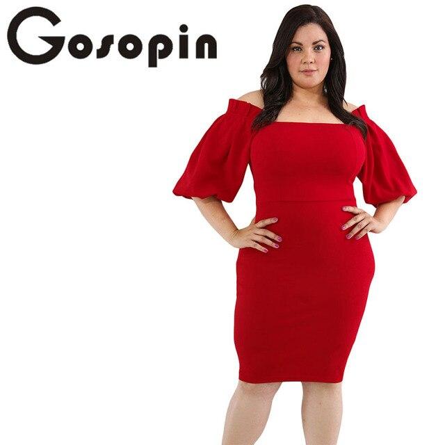 641dfb7fd26 Gosopin Plus Size Elegant Party Dress Black Women Sexy Midi Fashion Autumn  Bodycon Strapless Dresses Lantern