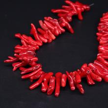 Approx60pcs/strand Natural Red Bamboo Coral Top Drilled Branch Beads Charms,Coral Stick Pikes Tribal Necklace Pendants Jewelry