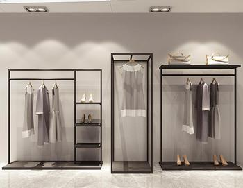 Clothing store display rack to implement mens and womens clothing side hanging